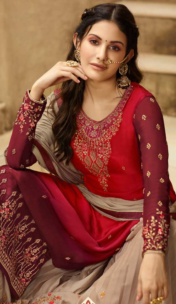 Red Maroon Color Satin Georgette Party Wear Sharara Salwar Kameez -712788536