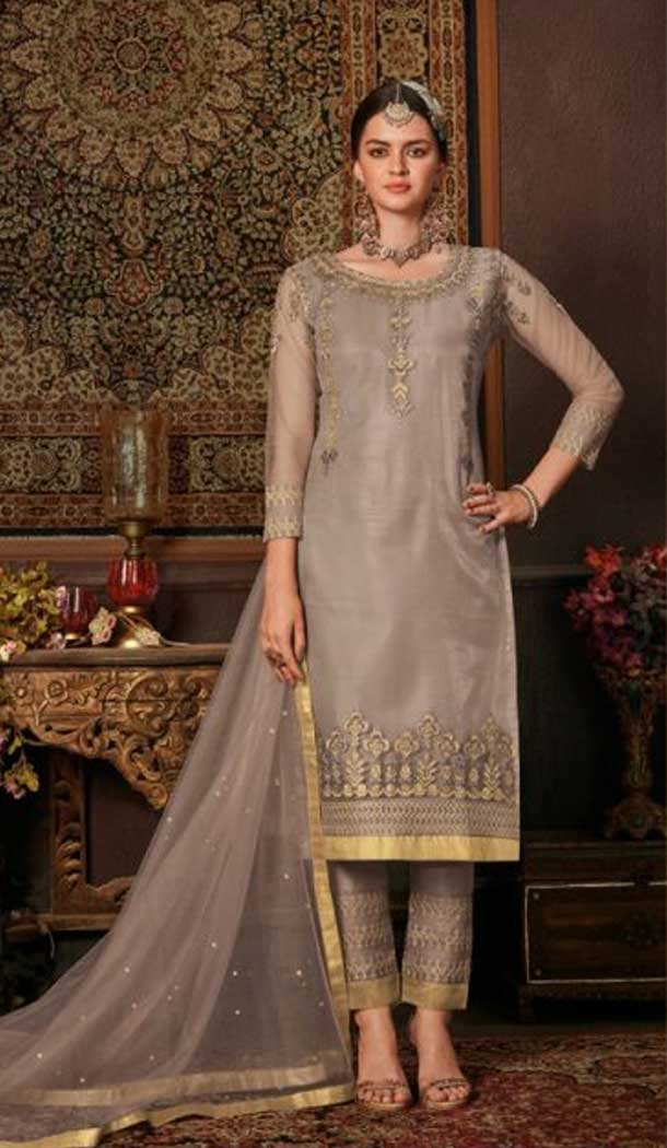 Greyish Beige Color Net Straight Cut Casual Wear Salwar Kameez -713088553