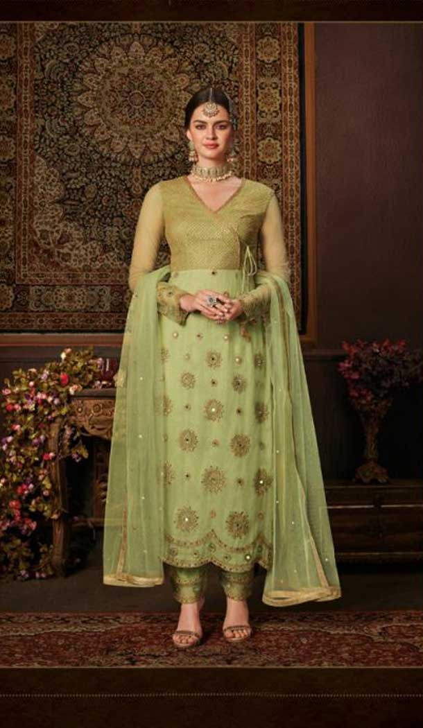 Vivacious Green Color Net Straight Cut Casual Wear Salwar Kameez -713088555