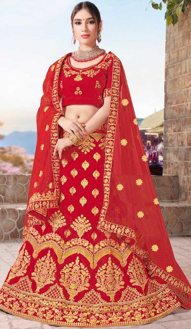 Red Color Velvet Designer Sangeet Ceremony Wear Lehenga Choli -719989233