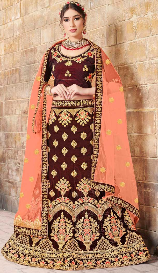 Maroon Color Velvet Designer Sangeet Ceremony Wear Lehenga Choli -719989236