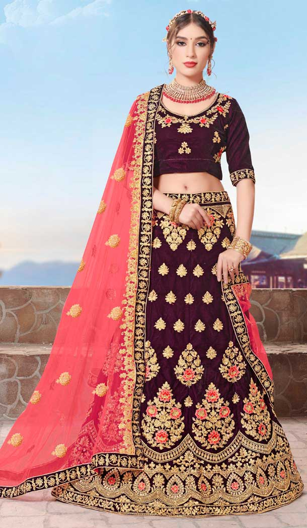 Elegance Purple Color Velvet Designer Sangeet Ceremony Wear Lehenga Choli -719989237