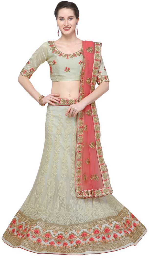 Grey Color Net Designer A Line Style Party Wear Lehenga Choli -720089241