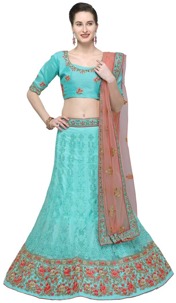 Blue Color Net Designer A Line Style Party Wear Lehenga Choli -720089242