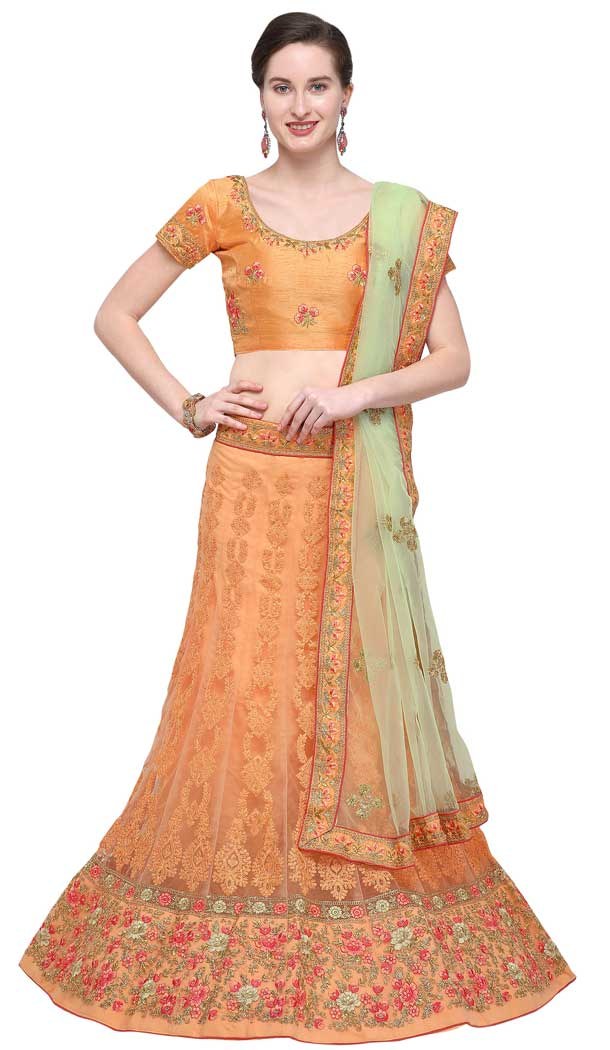 Light Orange Color Net Designer A Line Style Party Wear Lehenga Choli -720089244