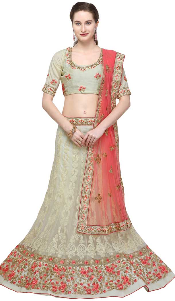 Beige Color Net Designer A Line Style Party Wear Lehenga Choli -720089245