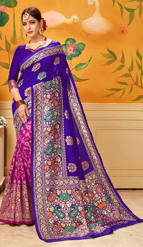 Blue And Pink Color Lichi Cotton Print Work Traditional Saree -712488504