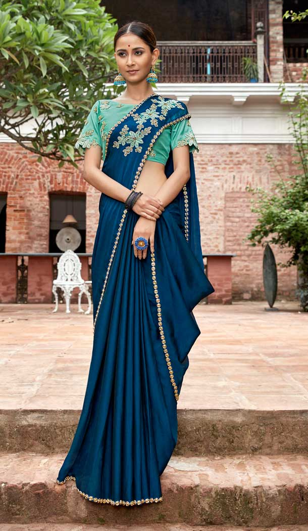 Alluring Blue Color China Chiffon Traditional Party Wear Saree Blouse -714688673