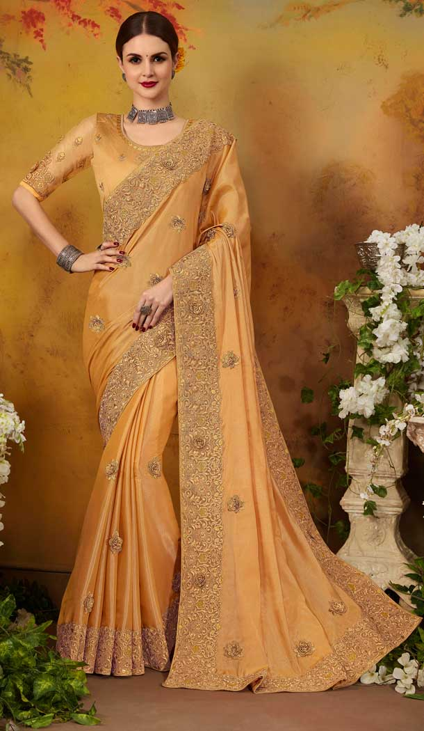 Adorable Gold Color Two Tone Silk Party Wear Saree Blouse -717088998