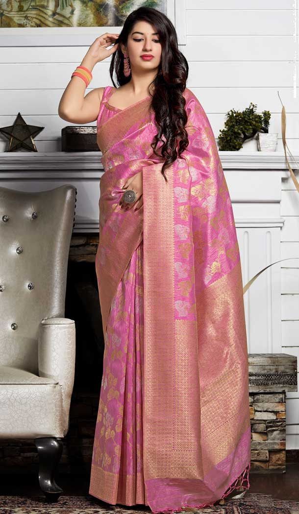 Adorable Pink Color Banarasi Sona Chandi Silk Designer Saree -722189503