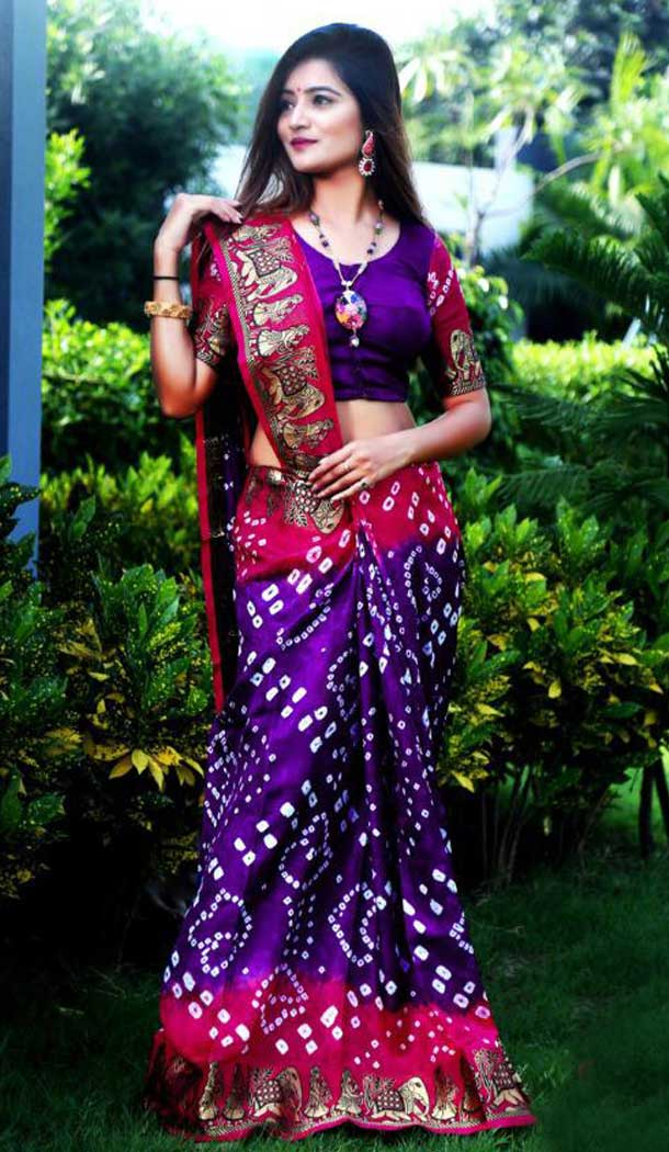 Purple Color Art Silk Traditional Bandhani Saree Blouse -722489535