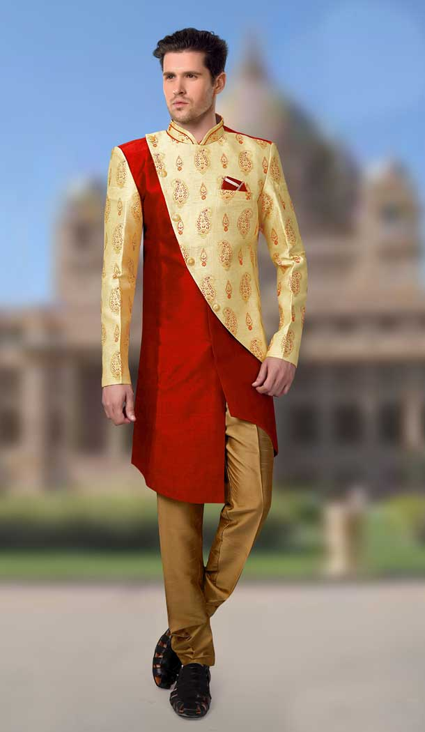 Yellow Maroon Color Jacquard Designer Readymade Indo Weastern Plus Size Sherwani -724189736