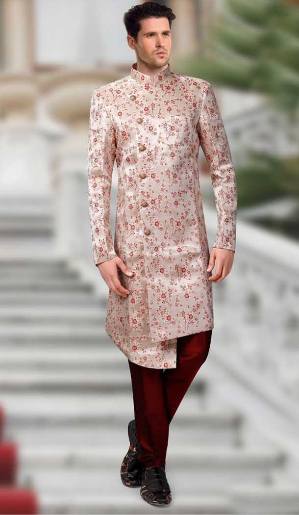 Light Brown Color Jacquard Designer Readymade Indo Weastern Plus Size Sherwani -724189739