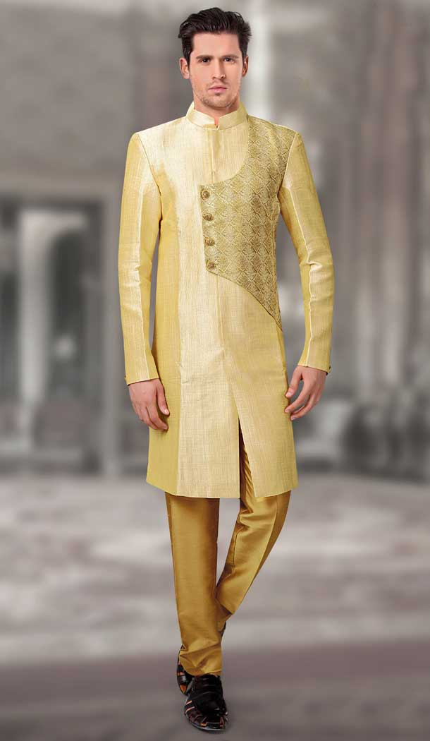 Light Yellow Color Silk Designer Readymade Indo Weastern Plus Size Sherwani -724189743