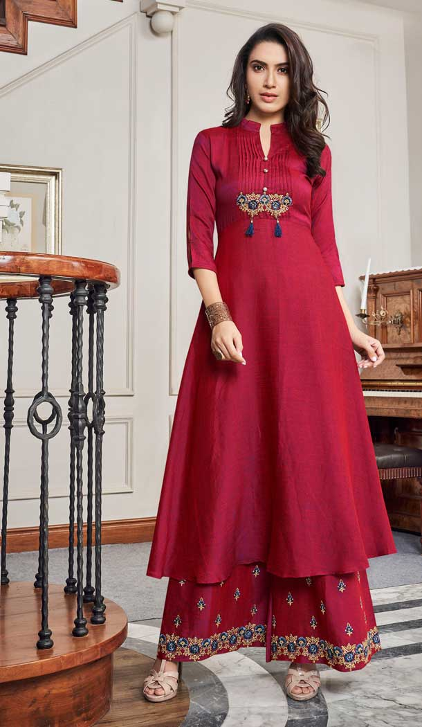Alluring Maroon Color Two Tone Slub Cotton Readymade Palazzo Suit -724289748