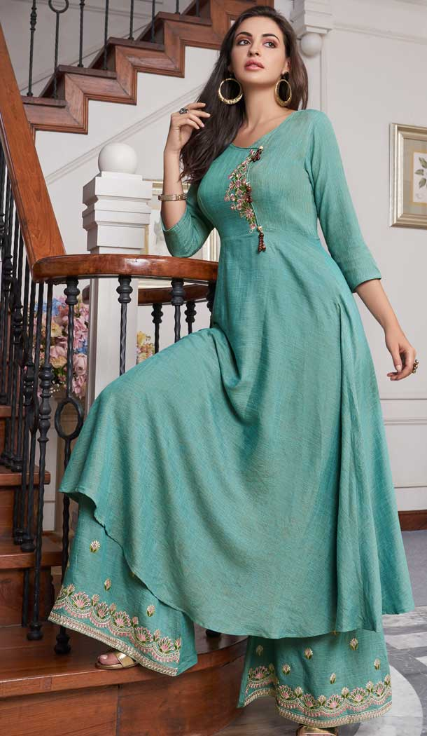 Alluring Sea Green Color Two Tone Slub Cotton Readymade Palazzo Suit -724289750