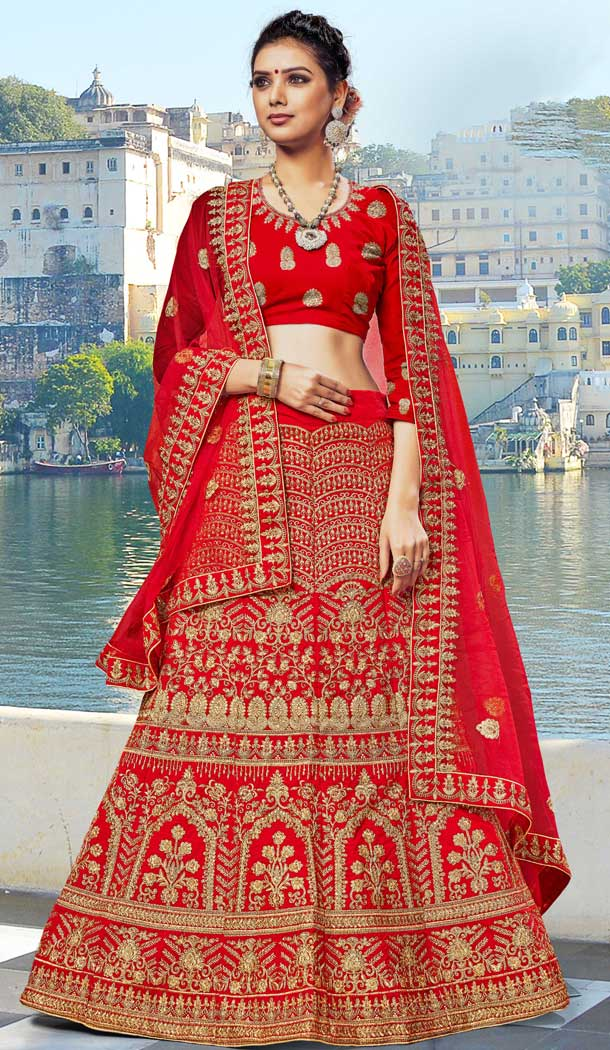 Adorable Red Color Velvet Heavy Embroidery Designer Weddin Lehenga Choli -724789782