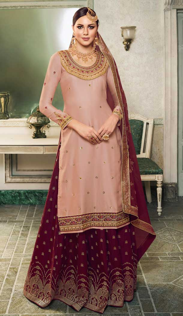 Baby Pink Color Modal Satin Silk Deisnger Pakitani Palazzo Suit -726189912