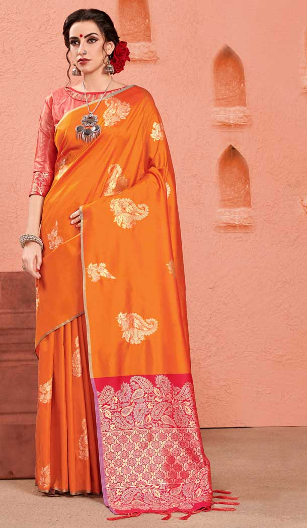 Orange Color Kanjivaram Art Silk Traditional Wear Sarees -726389926