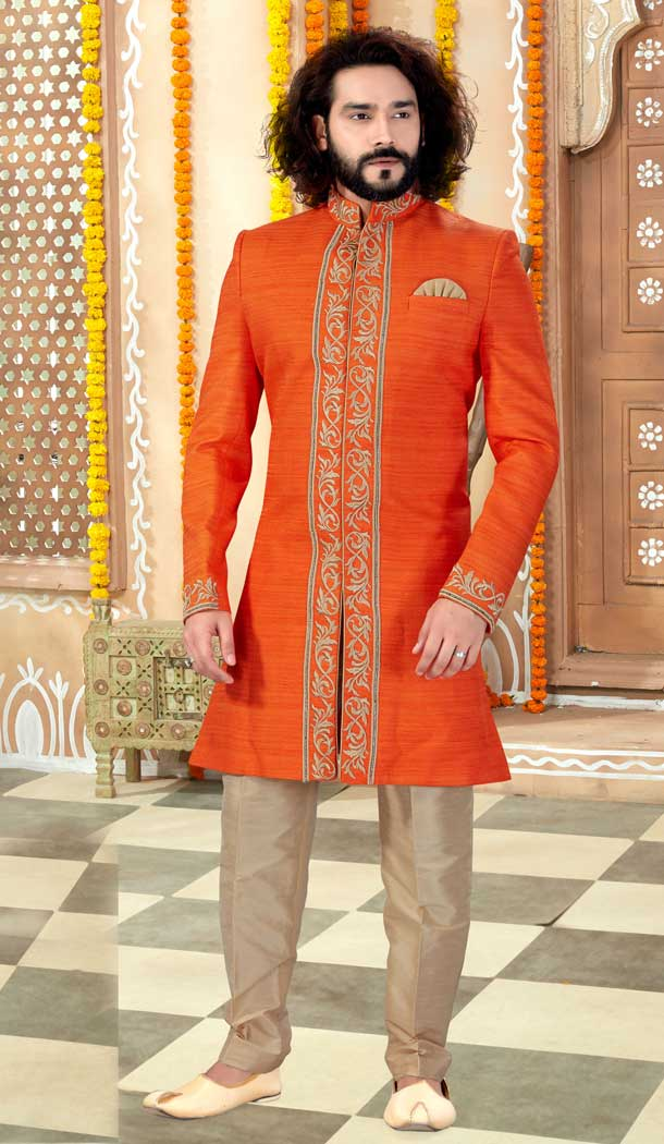 Ethnic Orange Color Banglore Silk Designer Indo Western Mens Sherwani -731690565