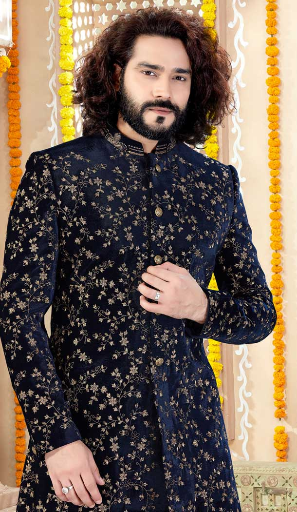 Adorable Navy Blue Color Velvet Designer Indo Western Mens Sherwani -731690581
