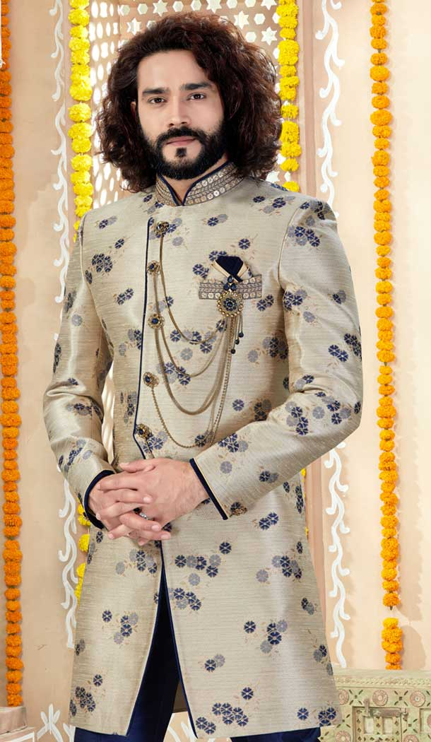 Aesthetic Gold Color Jaquard Indo Western Mens Wear Sherwani -731790594