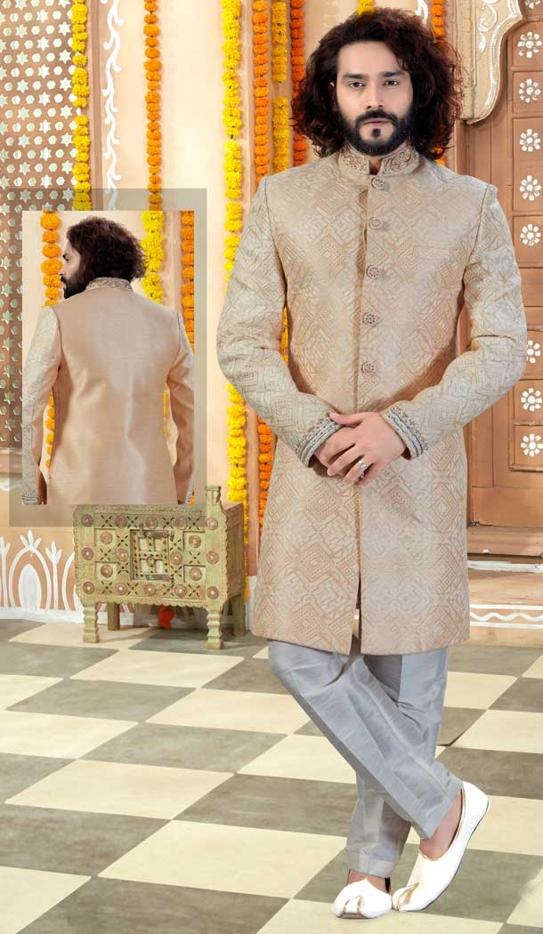 Light Skin Color Art Silk Indo Western Mens Wear Sherwani -731790599