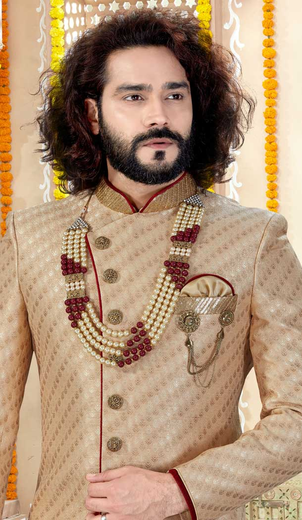 classi Gold Color Jaquard Indo Western Mens Wear Sherwani -731790601