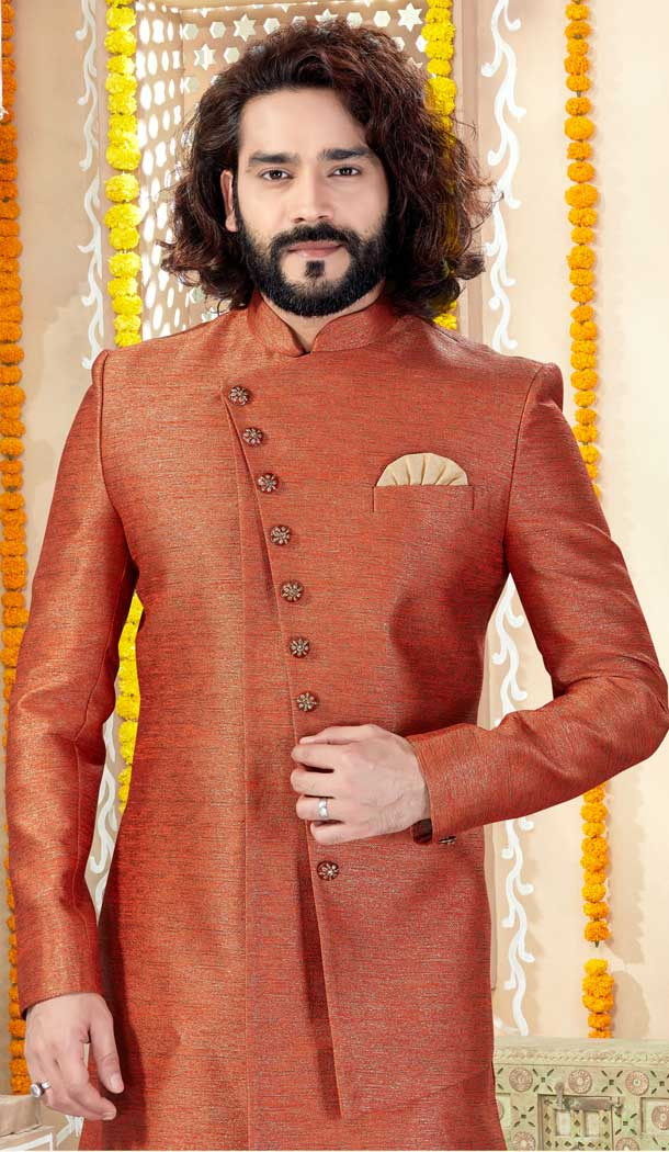 Glamorous Rust Color Imported Silk Indo Western Mens Wear Sherwani -731790603