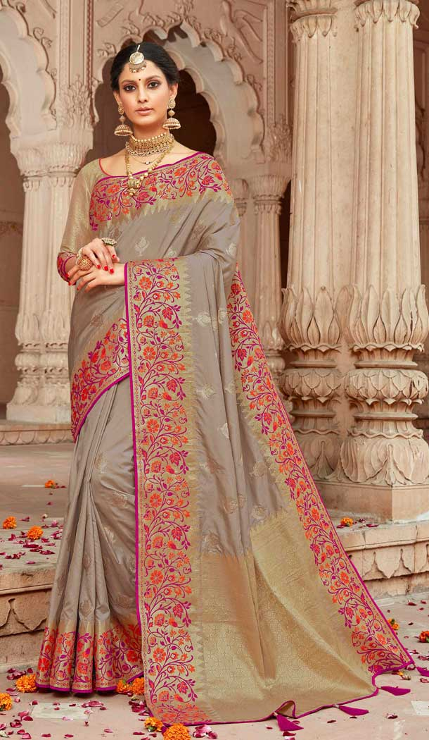 Alluring Grey Color Silk Designer Traditional Wear Women Saree Blouse 28490176