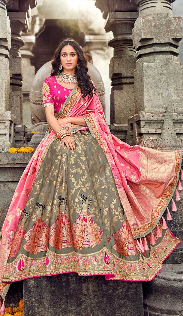 Tranquil Grey Color Silk Designer Bridal Wedding Lehenga Choli -732390661