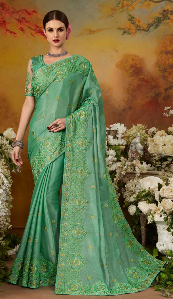 Charming Green Color Pure Silk Designer Party Wear Saree Blouse -729090251