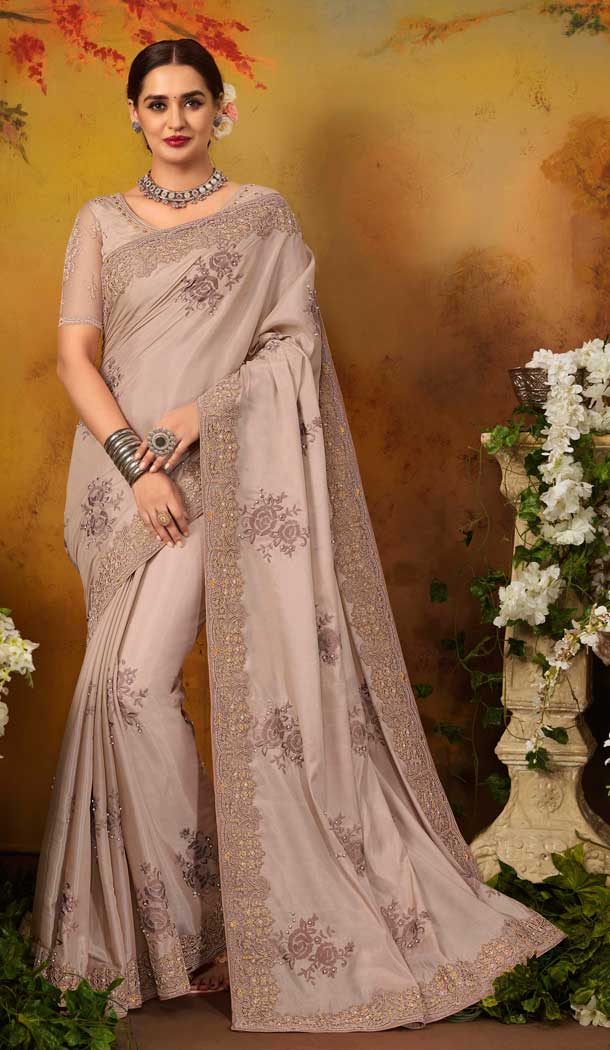 Adorable Beige Color Pure Silk Designer Party Wear Saree Blouse -729090254
