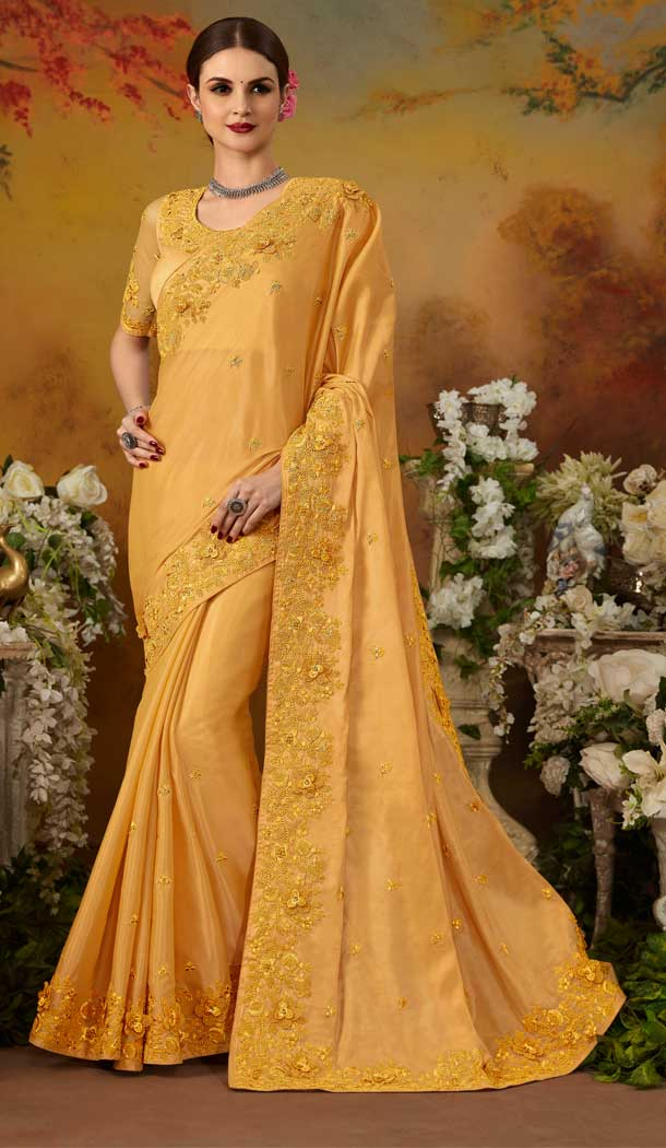 Magnificient Yellow Color Pure Silk Designer Party Wear Saree Blouse -729090255