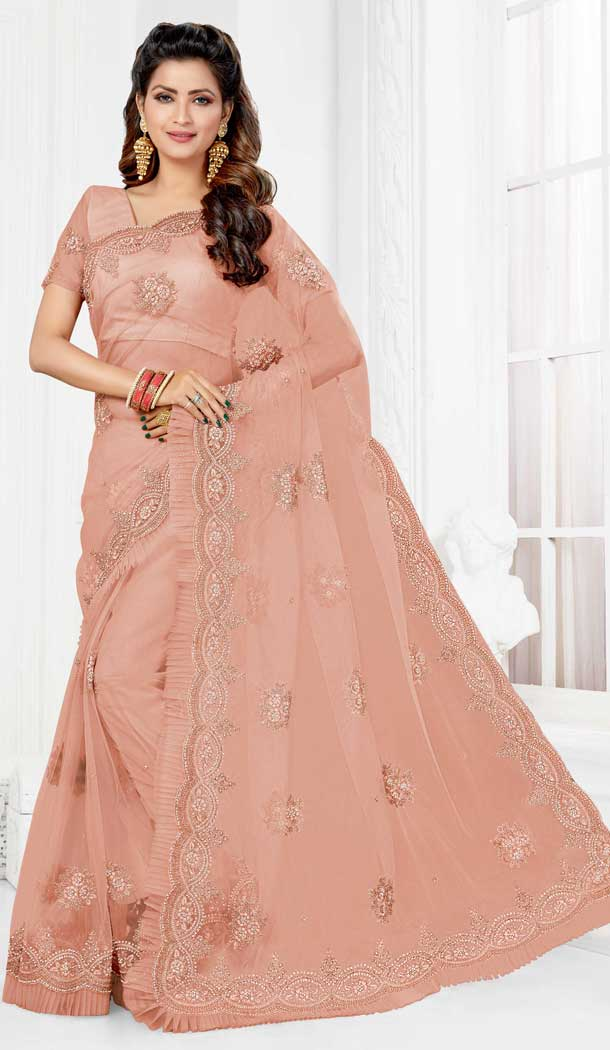 Contemporary Baby Pink Color Net Designer Party Wear Saree Blouse -729690379