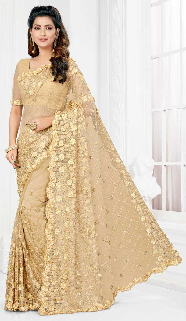 Exquisite Beige Color Net Designer Party Wear Saree Blouse -729690387