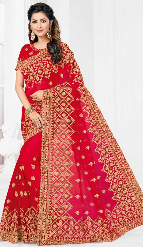 Stylish Red Color Net Designer Party Wear Saree Blouse -729690389