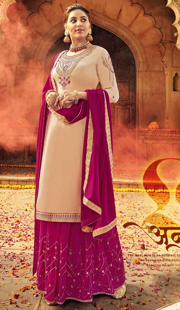 Cream Color Pure Satin Georgette Designer Party Wear Lehenga Suit -730890475
