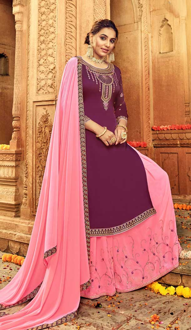 Violet Color Pure Satin Georgette Designer Party Wear Lehenga Suit -730890477