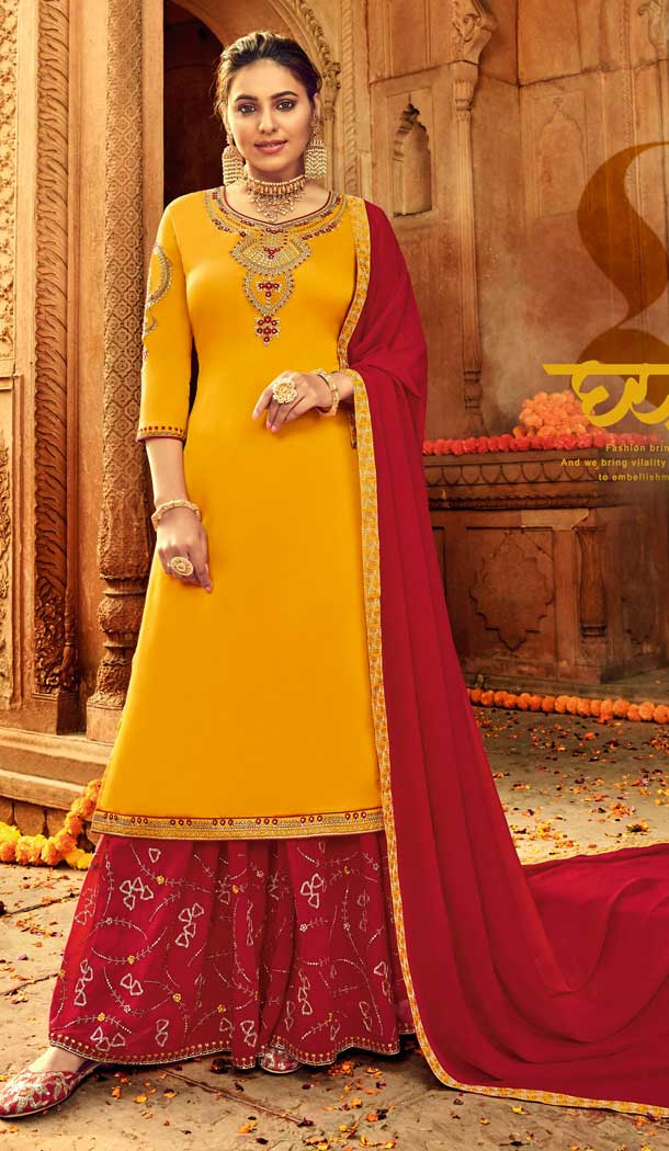 Yellow Colour Pure Satin Georgette Designer Party Wear Lehenga Suit -730890478