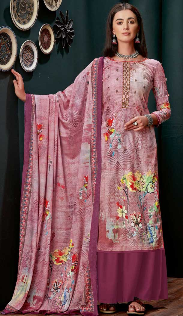 Light Violet Colour Pure Zam Slub Casual Party Wear Palazzo Salwar Suit -730990483