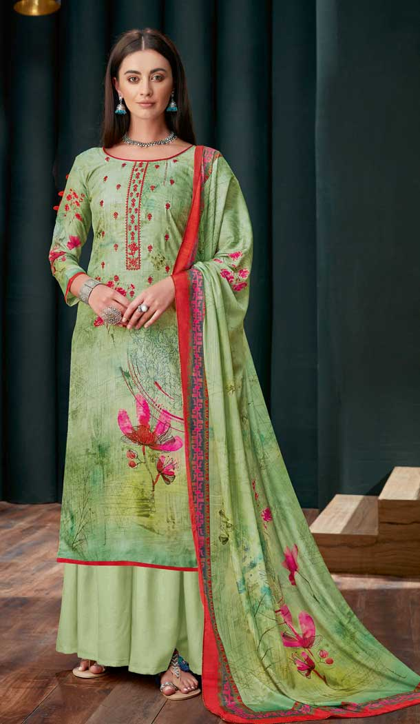Light Green Colour Pure Zam Slub Casual Party Wear Palazzo Salwar Suit -730990484