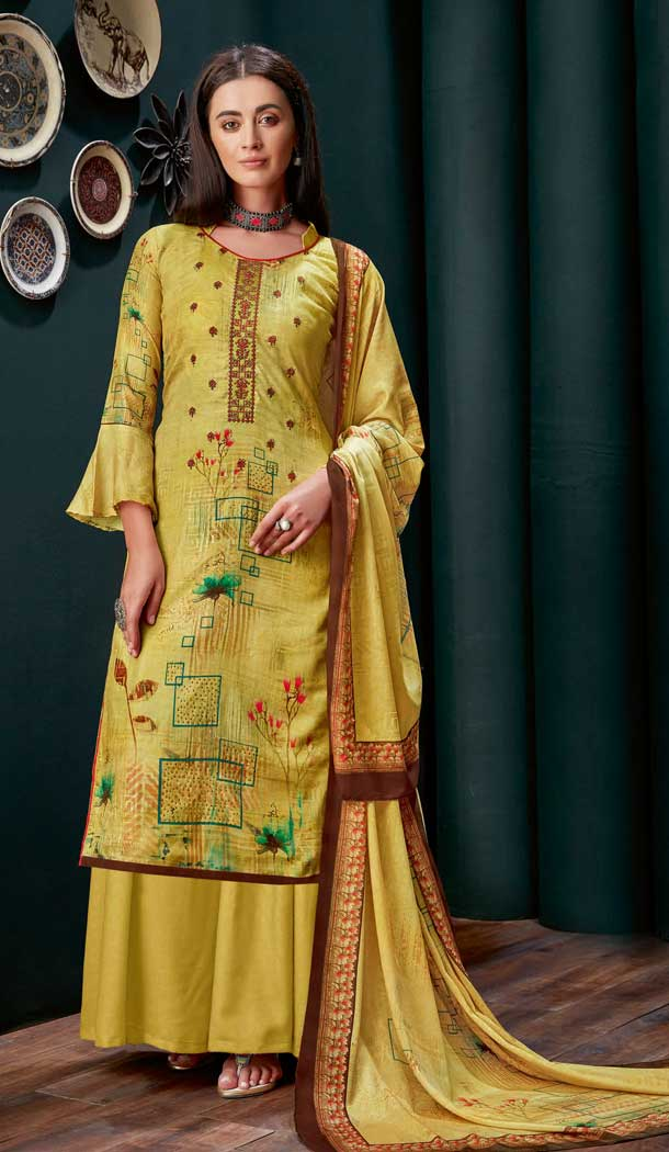 Yellow Colour Pure Zam Slub Casual Party Wear Palazzo Salwar Suit -730990487