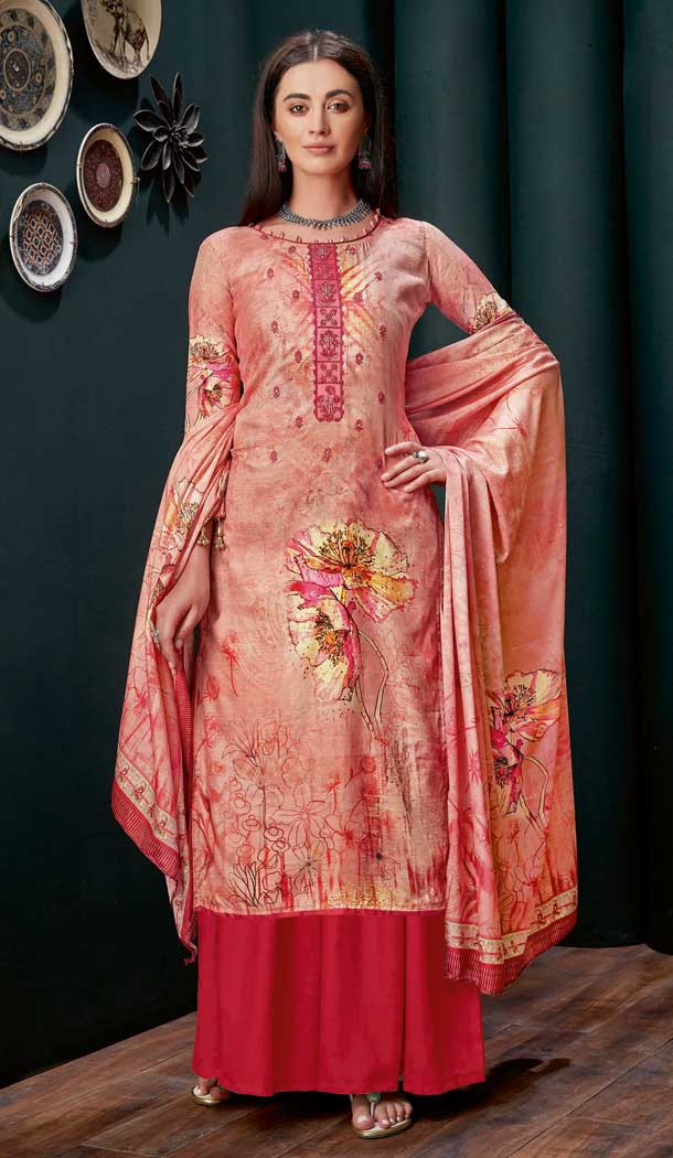 Peach Colour Pure Zam Slub Casual Party Wear Palazzo Salwar Suit -730990488