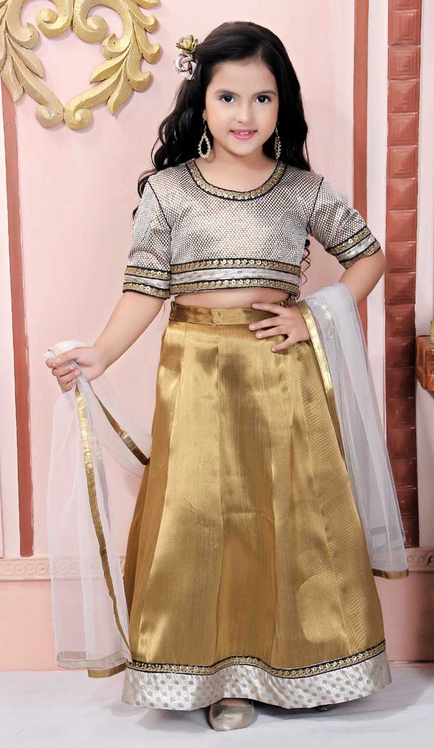 Off White Color Brocade Designer Kids Girl Lehenga Choli -733290841