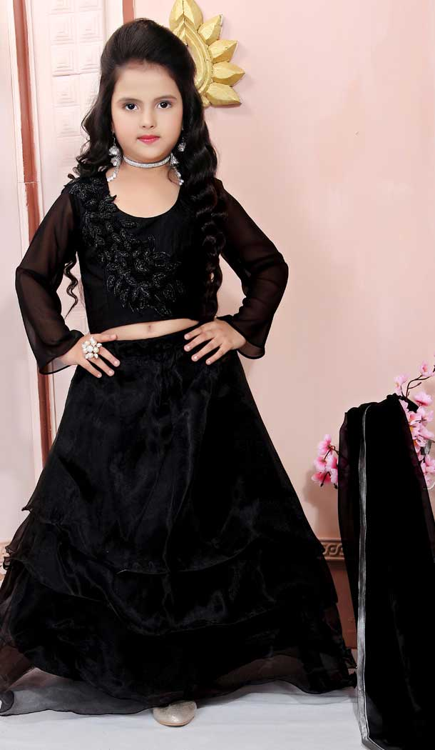 Black Color Organza Designer Kids Girl Lehenga Choli -733290847