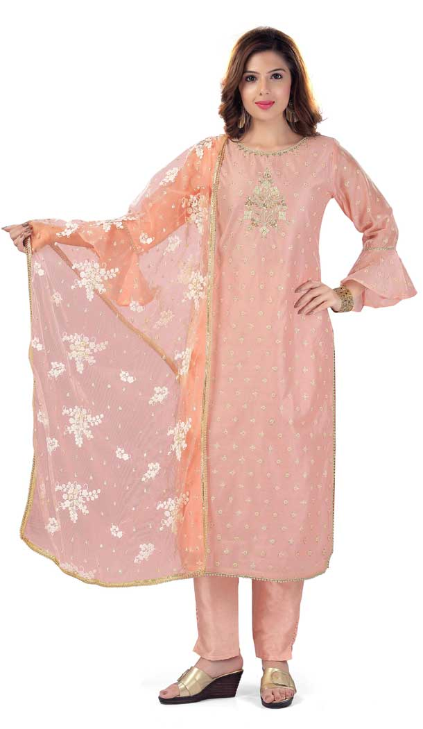 Peach Color Chanderi Silk Designer Plus Size Readymade Salwar Kameez -733990925