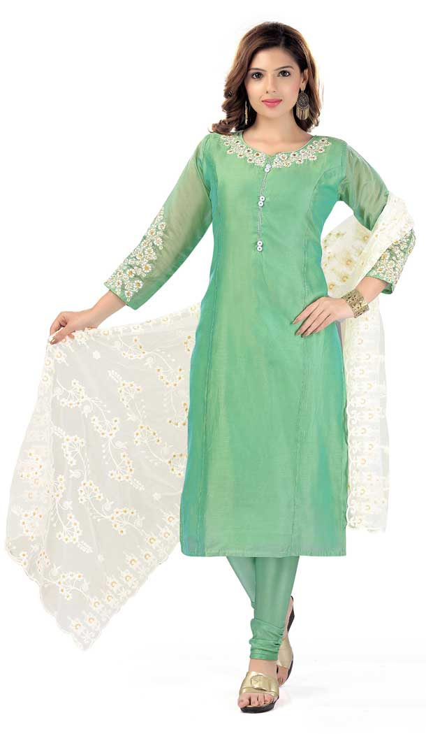 Stunning Green Color Chanderi Silk Designer Plus Size Readymade Salwar Kameez -733990927