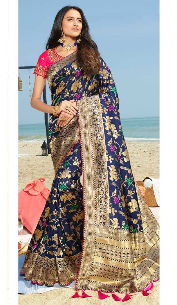 Blue Color Pure Silk Jacquard Designer Traditional Wear Saree -734290963