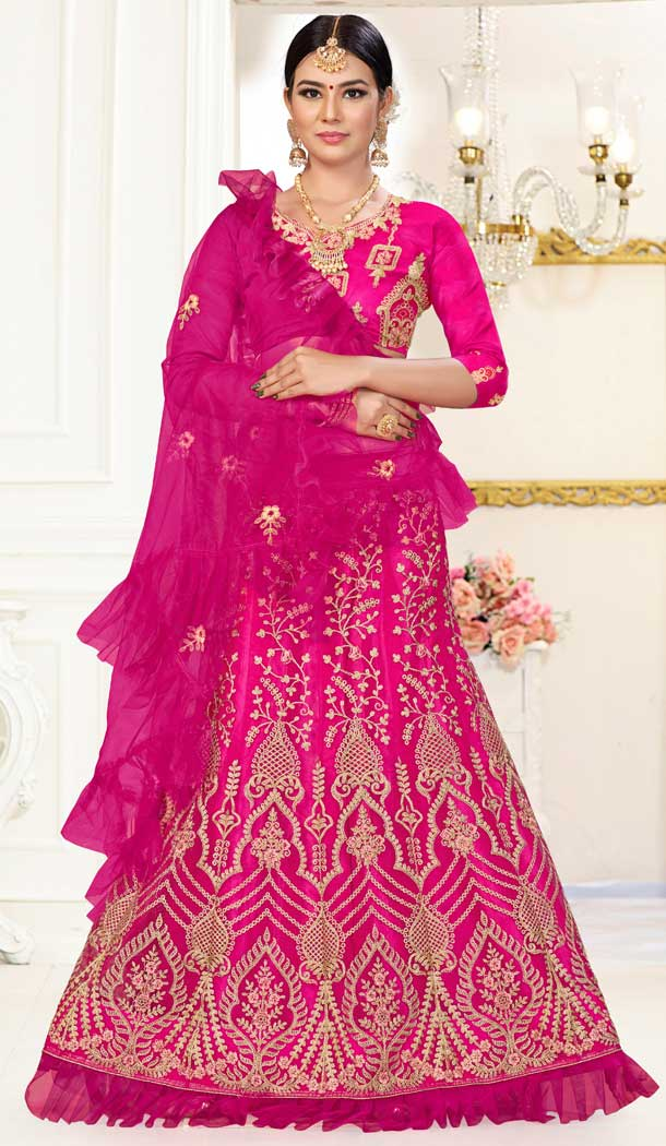 Alluring Pink Color Net Embroidery Party Wear Lehenga Choli -734891024